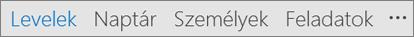 Az Outlook gyorselérési eszköztára a Posta, a Naptár, a Személyek, a Feladatok, és az Egyebek (három pont) ikonnal