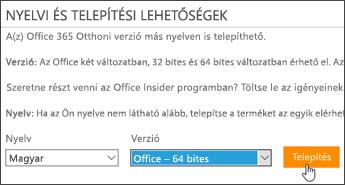 A nyelv és a verzió kiválasztását, illetve a Telepítés gombot ábrázoló kép