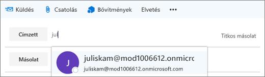 Képernyőkép egy e-mail Címzett soráról, a címzett e-mail-címének törlésére szolgáló beállítással  A Címzett mezőben az Automatikus kiegészítés funkció megadja a címzett e-mail-címét a név első néhány betűje alapján.
