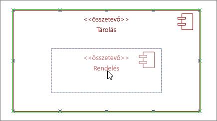 Tárolás alrendszeralakzat ráhúzott Rendelés összetevő-alakzattal