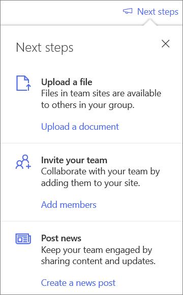 A következő lépések ablaktábla új megosztott tár létrehozása után a OneDrive vállalati verzióban