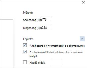 Word-dokumentum beágyazásának beállításai