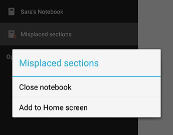 A Jegyzetfüzet bezárása parancs az Android OneNote-ban