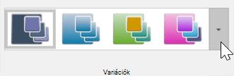 Képernyőkép a tervezés > témáról > variációk eszköztár megjelenítése