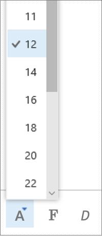 A betűméret módosítása a Webes Outlookban.