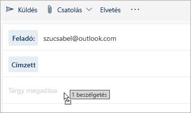 Képernyőkép az üzenet áthúzásáról a Levélírás panelre