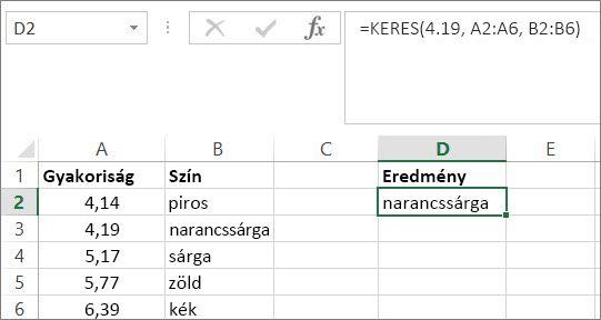 Példa a KERES függvény használatára