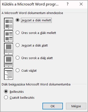 Küldés a Microsoft Word programba párbeszédpanel