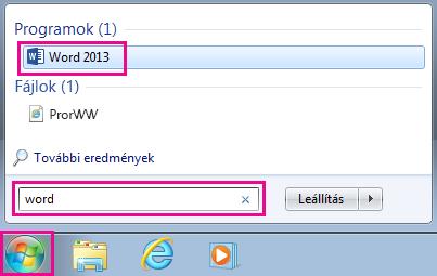 Office-alkalmazások keresése a Windows 7-ben