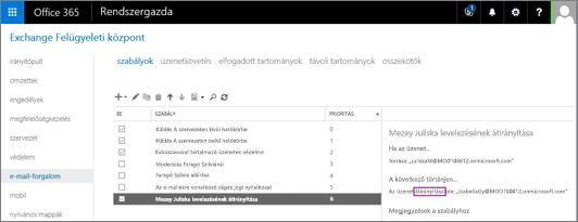 Képernyőkép az Exchange Felügyeleti központ Levélforgalom területének Szabályok lapjáról Be van jelölve a Be jelölőnégyzet a felhasználó leveleit átirányító szabálynál.
