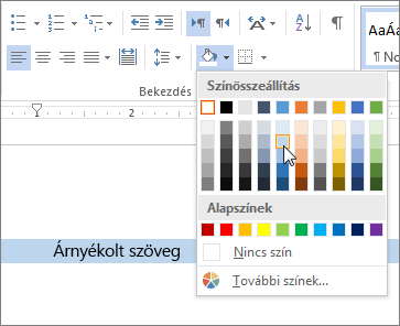 Árnyékolási szín alkalmazása a szövegre