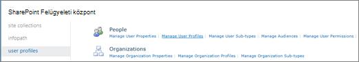 A felhasználói profilok kezelése hivatkozásra a felhasználói profilok lapján