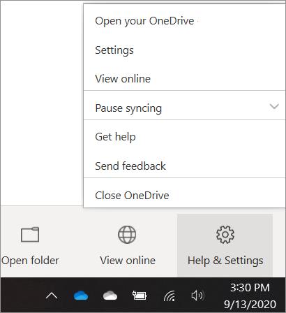 A OneDrive-beállítások megnyitását bemutató képernyőkép