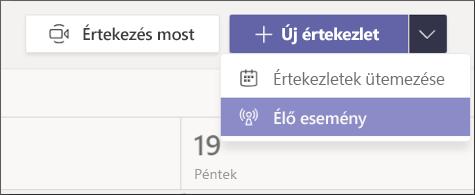 új értekezlet – élő esemény gomb