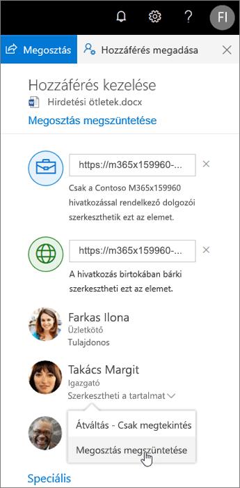 Megosztás módosítása vagy leállítása a OneDrive-on