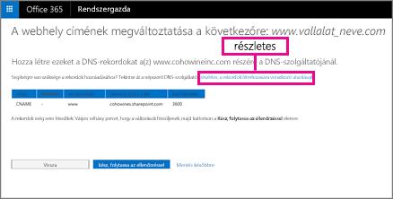 Válassza a Webhely címének módosítása résznél a részletes útmutató hivatkozását