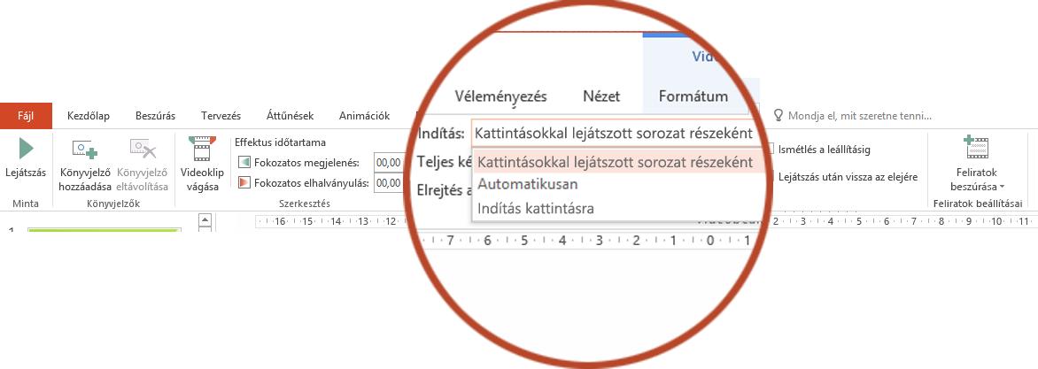A számítógépen lévő videókra vonatkozó lejátszási beállítások: Kattintásokkal lejátszott sorozat részeként, Automatikusan és Indítás kattintásra