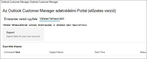 Képernyőkép: az Outlook Customer Manager-alkalmazottak adatainak exportálása