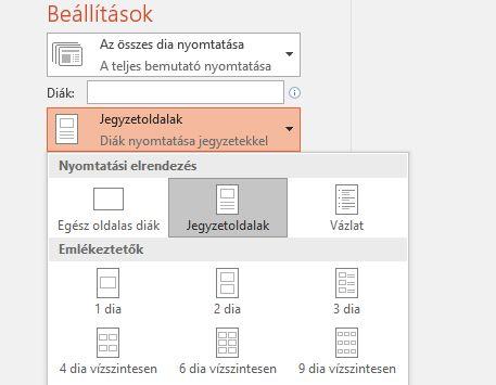 képernyőkép a jegyzetek nyomtatási beállításairól