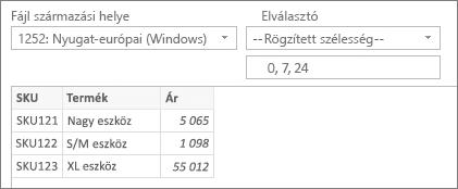 --Rögzített szélesség-- Elválasztó parancs; a karakterpozíció megadott értékei: 0, 7, 24