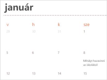 Naptársablon az Excel Online-ban
