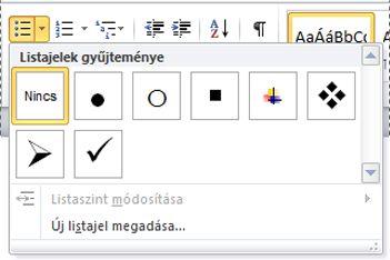 A Word 2010 listajelgyűjteménye