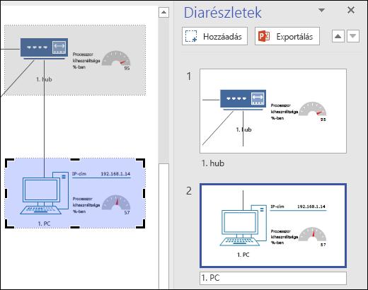 A Visio Diarészletek ablaktáblája, amint két dia előnézete látható rajta.