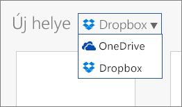 A Helyek területre felvett Dropbox, ahol új fájlok hozhatók létre az Office Online-ban