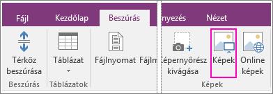 Képernyőkép a OneNote 2016 Beszúrás lapján lévő Képek gombról