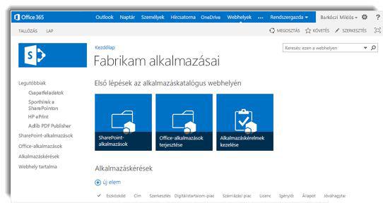 Képernyőkép: alkalmazáskatalógus-webhely kezdőlapja