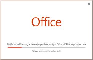 Az Office-alkalmazás telepítésének végrehajtása