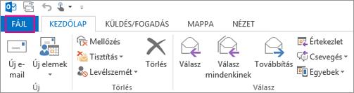 Így néz ki az asztali Outlook menüszalagja.