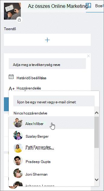 Felhasználó hozzárendelése új tevékenység létrehozásakor