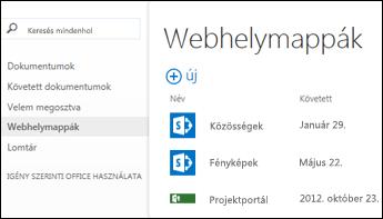 Válassza a Webhelymappák elemet az Office365 fontos rovatok sávján a követett SharePoint Online-webhelyek listájának megjelenítéséhez.