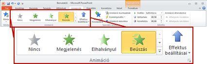 Az Animációk fül a PowerPoint 2010 menüszalagján