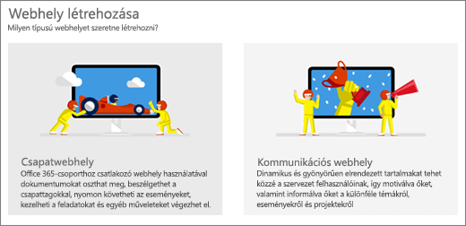 Két felső szintű sablon, csoport vagy kommunikációs webhely választása