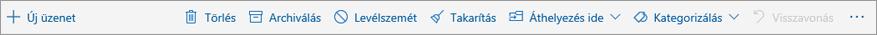 Képernyőkép az olvasóablakban megjelenő parancssorról, rajta a gyakori (Törlés, Archiválás, Áthelyezés) műveletek lehetőségeivel.