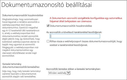 A dokumentumazonosítók hozzárendelése a a dokumentumazonosító beállításai lap