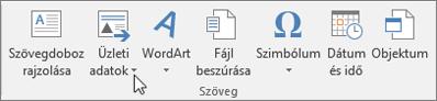 A Publisher Üzleti adatok eleme
