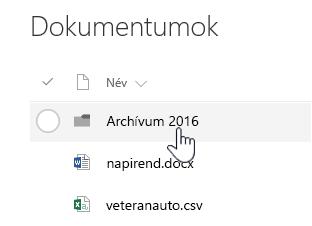 SharePoint Online-dokumentumtár, egy mappa kiemelve