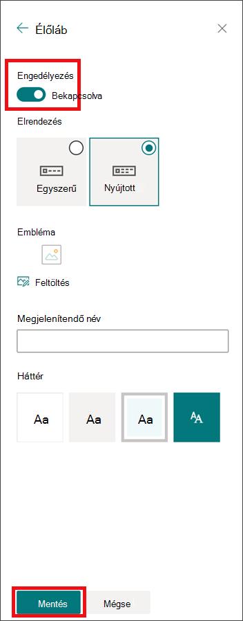 A megjelenés panel módosítása engedélyezett élőlábbal