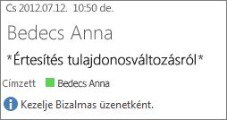 Bizalmas jelöléssel ellátott e-mail