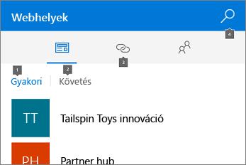 Képernyőkép a Webhelyek lapról