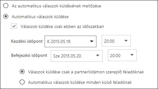 Automatikus válaszok a Webes Outlookban – Idő beállítása