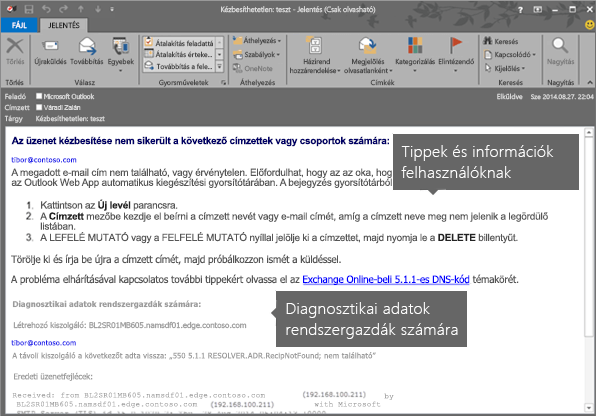 Diagnosztikai információ felhasználónak és rendszergazdának egy sikertelen kézbesítésről szóló üzenetben