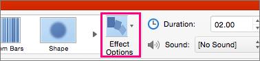 Az Effektus beállításai gomb a Mac PowerPoint 2016 Áttűnés menüjében