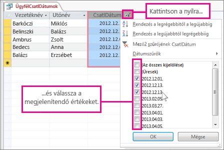 Lekérdezésoszlop szűrése asztali adatbázisban