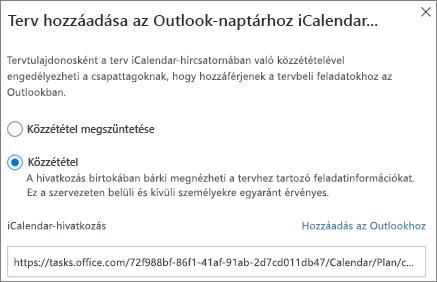 Képernyőkép a terv hozzáadása az Outlook naptárhoz párbeszédpanelről