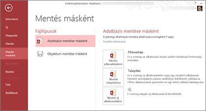 """Az """"Adatbázis mentése másként"""" funkció lehetőségei a """"Mentés másként"""" képernyőn"""