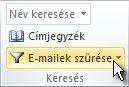 E-mailek szűrése parancs a menüszalagon